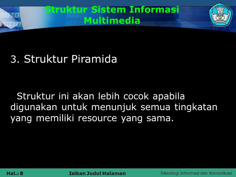 Teknologi Informasi dan Komunikasi Hal.: 7Isikan Judul Halaman Struktur Sistem Informasi Multimedia 2. Struktur Herarki Struktur ini lebih cocok untuk