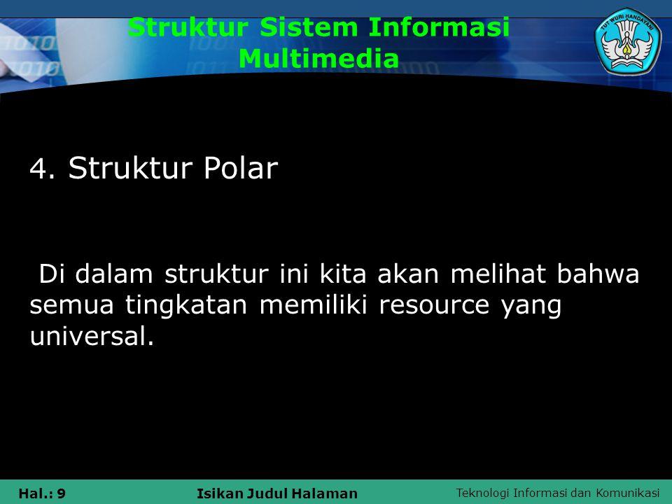 Teknologi Informasi dan Komunikasi Hal.: 8Isikan Judul Halaman Struktur Sistem Informasi Multimedia 3. Struktur Piramida Struktur ini akan lebih cocok