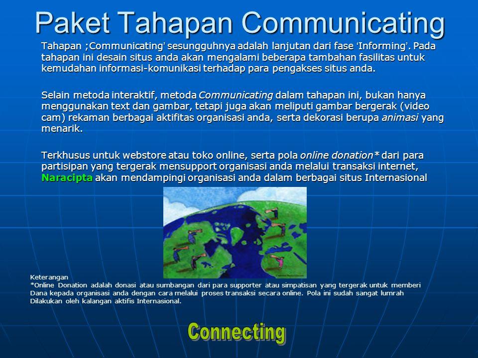 Paket Tahapan Communicating Tahapan ;Communicating ' sesungguhnya adalah lanjutan dari fase ' Informing '.