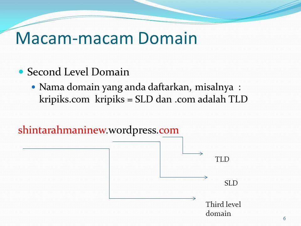 Macam-macam Domain  Second Level Domain  Nama domain yang anda daftarkan, misalnya : kripiks.com kripiks = SLD dan.com adalah TLD shintarahmaninew.wordpress.com 6 TLD SLD Third level domain