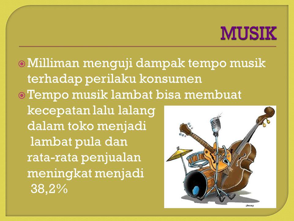  Milliman menguji dampak tempo musik terhadap perilaku konsumen  Tempo musik lambat bisa membuat kecepatan lalu lalang dalam toko menjadi lambat pula dan rata-rata penjualan meningkat menjadi 38,2%