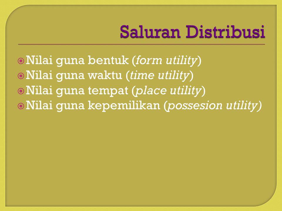  Nilai guna bentuk (form utility)  Nilai guna waktu (time utility)  Nilai guna tempat (place utility)  Nilai guna kepemilikan (possesion utility)