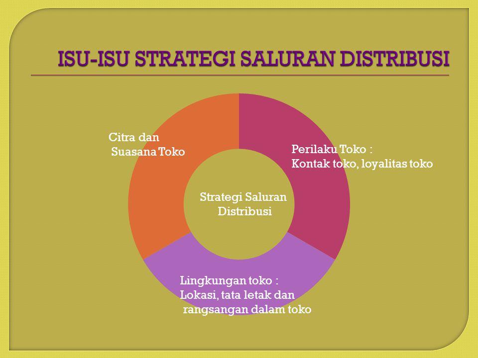 Strategi Saluran Distribusi Perilaku Toko : Kontak toko, loyalitas toko Citra dan Suasana Toko Lingkungan toko : Lokasi, tata letak dan rangsangan dalam toko