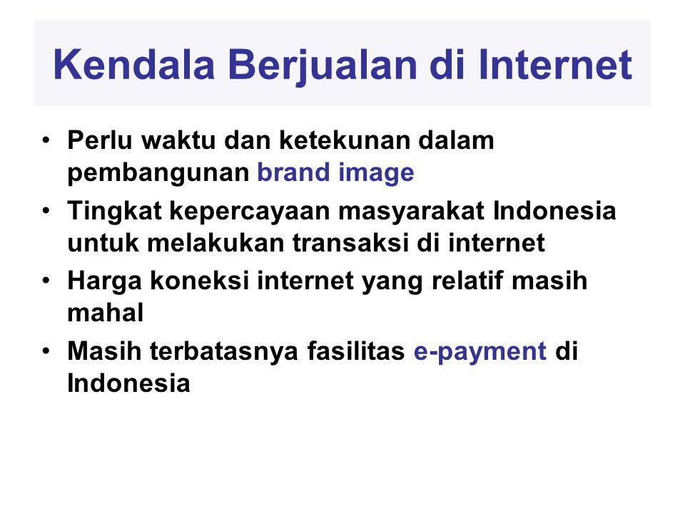 Kendala Berjualan di Internet •Perlu waktu dan ketekunan dalam pembangunan brand image •Tingkat kepercayaan masyarakat Indonesia untuk melakukan transaksi di internet •Harga koneksi internet yang relatif masih mahal •Masih terbatasnya fasilitas e-payment di Indonesia