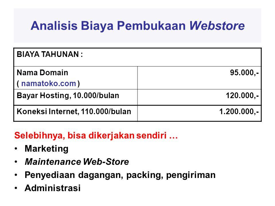 Analisis Biaya Pembukaan Webstore BIAYA TAHUNAN : Nama Domain ( namatoko.com ) 95.000,- Bayar Hosting, 10.000/bulan120.000,- Koneksi Internet, 110.000/bulan1.200.000,- Selebihnya, bisa dikerjakan sendiri … •Marketing •Maintenance Web-Store •Penyediaan dagangan, packing, pengiriman •Administrasi