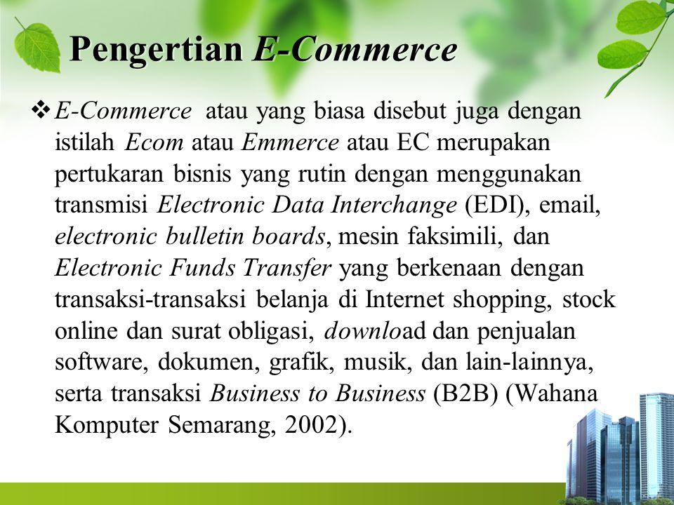 Definisi dari E-Commerce menurut Kalakota dan Whinston (1997) Dari perspektif komunikasi Dari perspektif proses bisnis Dari perspektif layanan Dari perspektif online 4 1 2 3