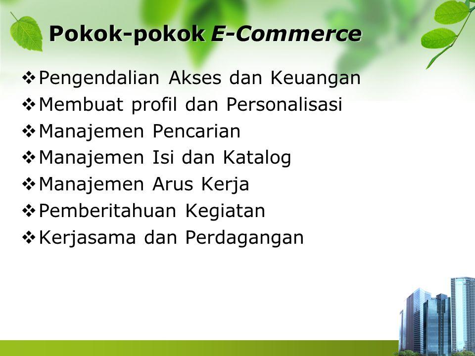 Tren Aplikasi E-Commerce  E-commerce mengubah cara bagaimana perusahaan melakukan bisnis secara internal dan eksternal dengan para pelanggan, pemasok dan mitra dagang lainnya.