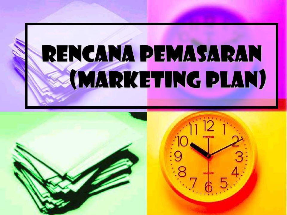 Menyusun Marketing Plan Marketing plan memuat hal-hal:  Analisa situasi (SWOT)  Tujuan pemasaran (marketing objectives)  Strategi inti (Core strategy)  Jadual pelaksanaan (Action plan)  Anggaran pemasaran (marketing budget)  Kontrol (Control)
