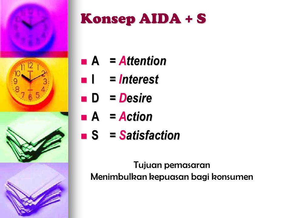 Konsep AIDA + S  A= Attention  I= Interest  D= Desire  A= Action  S= Satisfaction Tujuan pemasaran Menimbulkan kepuasan bagi konsumen