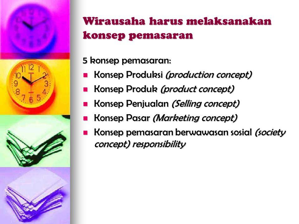 Wirausaha harus melaksanakan konsep pemasaran 5 konsep pemasaran:  Konsep Produksi (production concept)  Konsep Produk (product concept)  Konsep Penjualan (Selling concept)  Konsep Pasar (Marketing concept)  Konsep pemasaran berwawasan sosial (society concept) responsibility