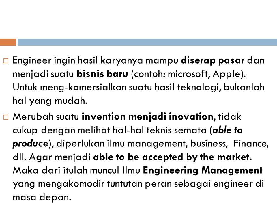  Engineer ingin hasil karyanya mampu diserap pasar dan menjadi suatu bisnis baru (contoh: microsoft, Apple).