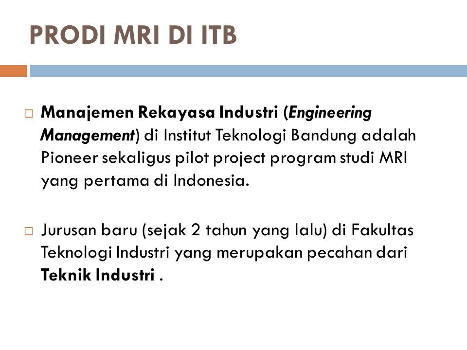 PRODI MRI DI ITB  Manajemen Rekayasa Industri (Engineering Management) di Institut Teknologi Bandung adalah Pioneer sekaligus pilot project program studi MRI yang pertama di Indonesia.