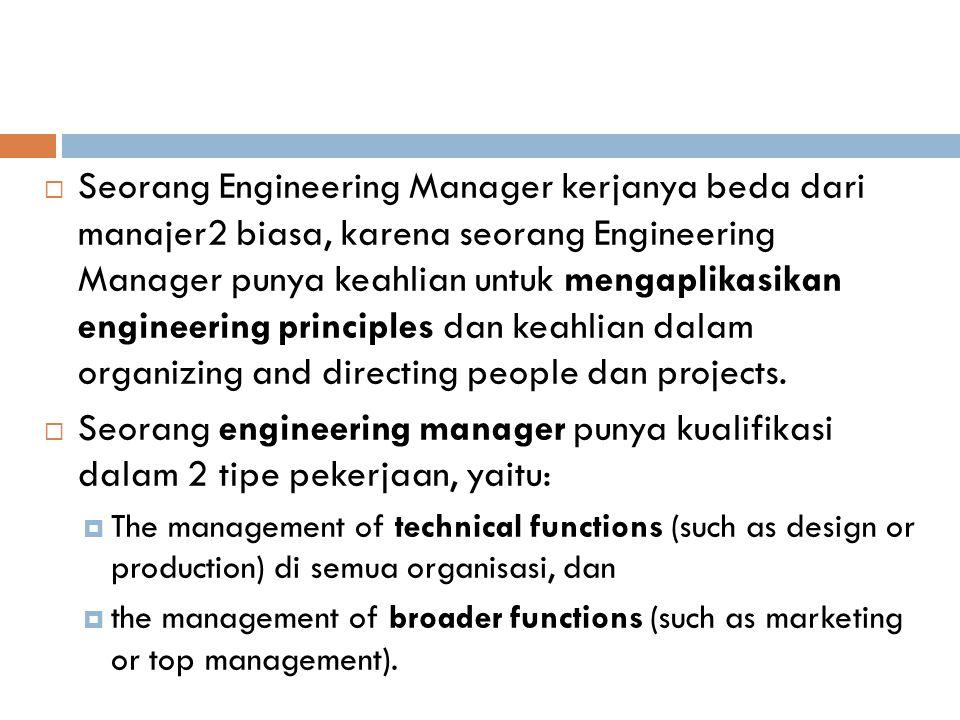  Seorang Engineering Manager kerjanya beda dari manajer2 biasa, karena seorang Engineering Manager punya keahlian untuk mengaplikasikan engineering principles dan keahlian dalam organizing and directing people dan projects.