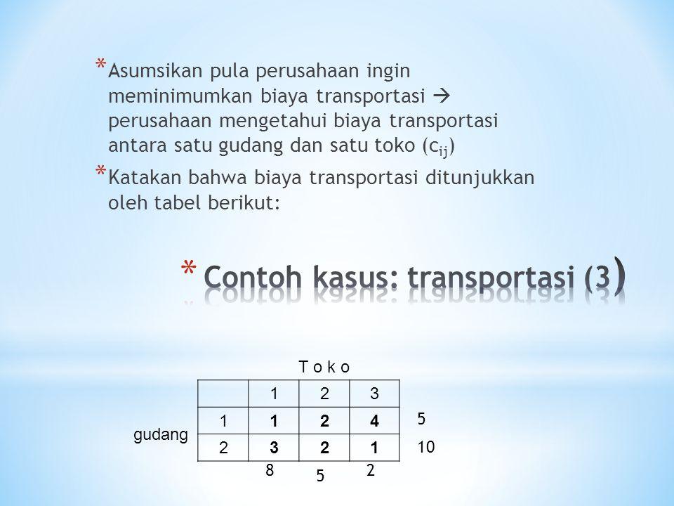 * Asumsikan pula perusahaan ingin meminimumkan biaya transportasi  perusahaan mengetahui biaya transportasi antara satu gudang dan satu toko (c ij ) * Katakan bahwa biaya transportasi ditunjukkan oleh tabel berikut: T o k o 123 gudang 1124 2321 5 10 8 5 2