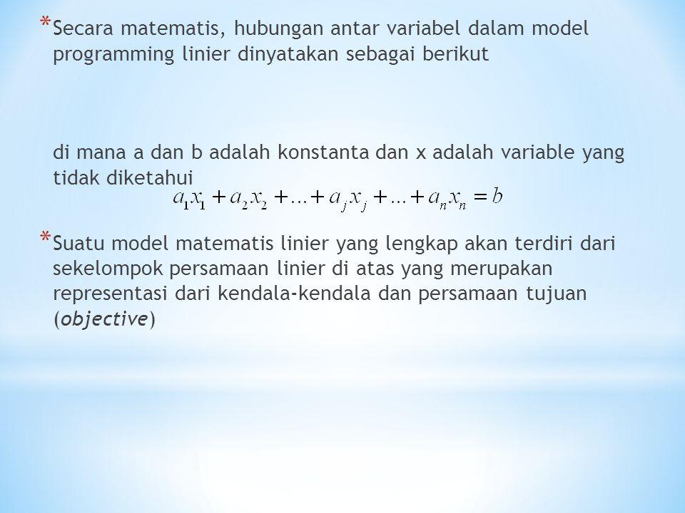 * Secara matematis, hubungan antar variabel dalam model programming linier dinyatakan sebagai berikut di mana a dan b adalah konstanta dan x adalah variable yang tidak diketahui * Suatu model matematis linier yang lengkap akan terdiri dari sekelompok persamaan linier di atas yang merupakan representasi dari kendala-kendala dan persamaan tujuan (objective)