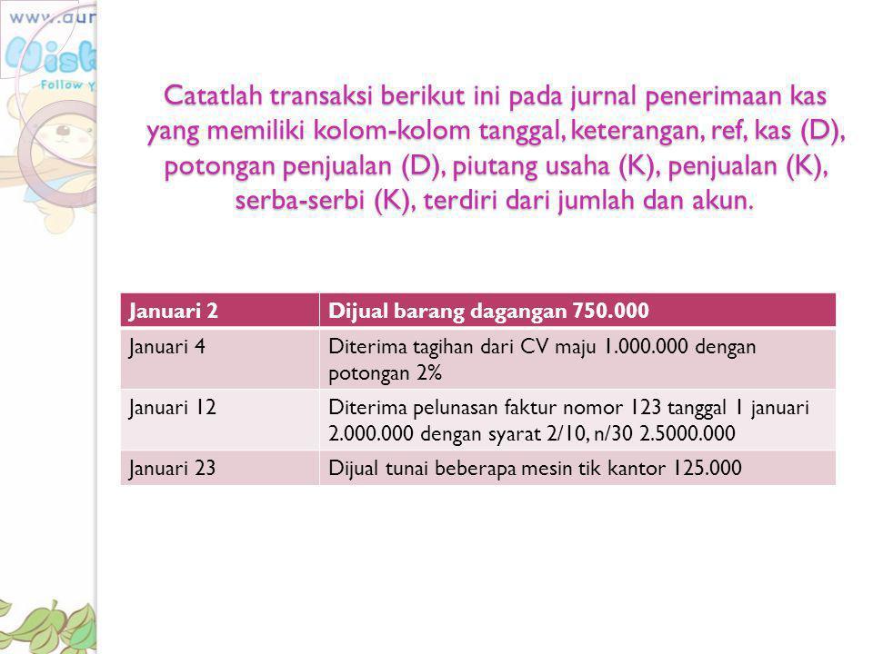 Catatlah transaksi berikut ini pada jurnal penerimaan kas yang memiliki kolom-kolom tanggal, keterangan, ref, kas (D), potongan penjualan (D), piutang