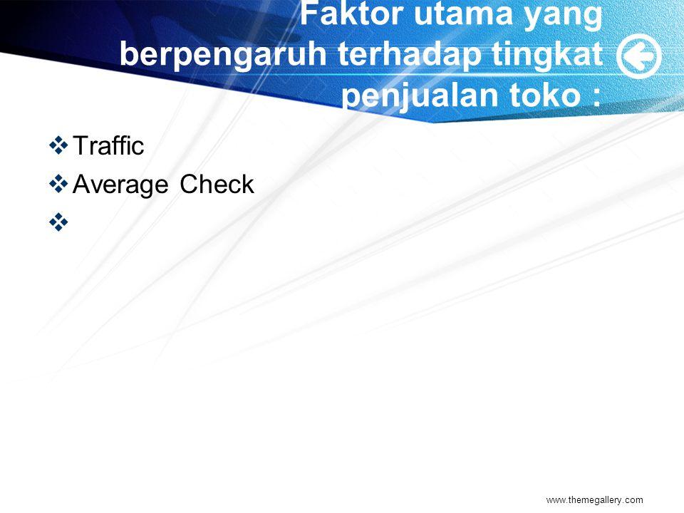 Faktor utama yang berpengaruh terhadap tingkat penjualan toko :  Traffic  Average Check  www.themegallery.com