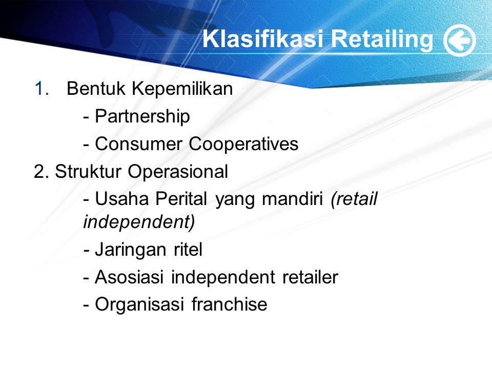 Klasifikasi Retailing 1.Bentuk Kepemilikan - Partnership - Consumer Cooperatives 2. Struktur Operasional - Usaha Perital yang mandiri (retail independ