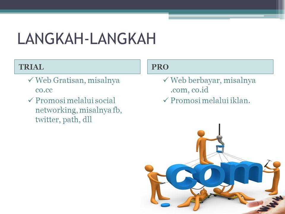 LANGKAH-LANGKAH TRIALPRO  Web Gratisan, misalnya co.cc  Promosi melalui social networking, misalnya fb, twitter, path, dll  Web berbayar, misalnya.com, co.id  Promosi melalui iklan.