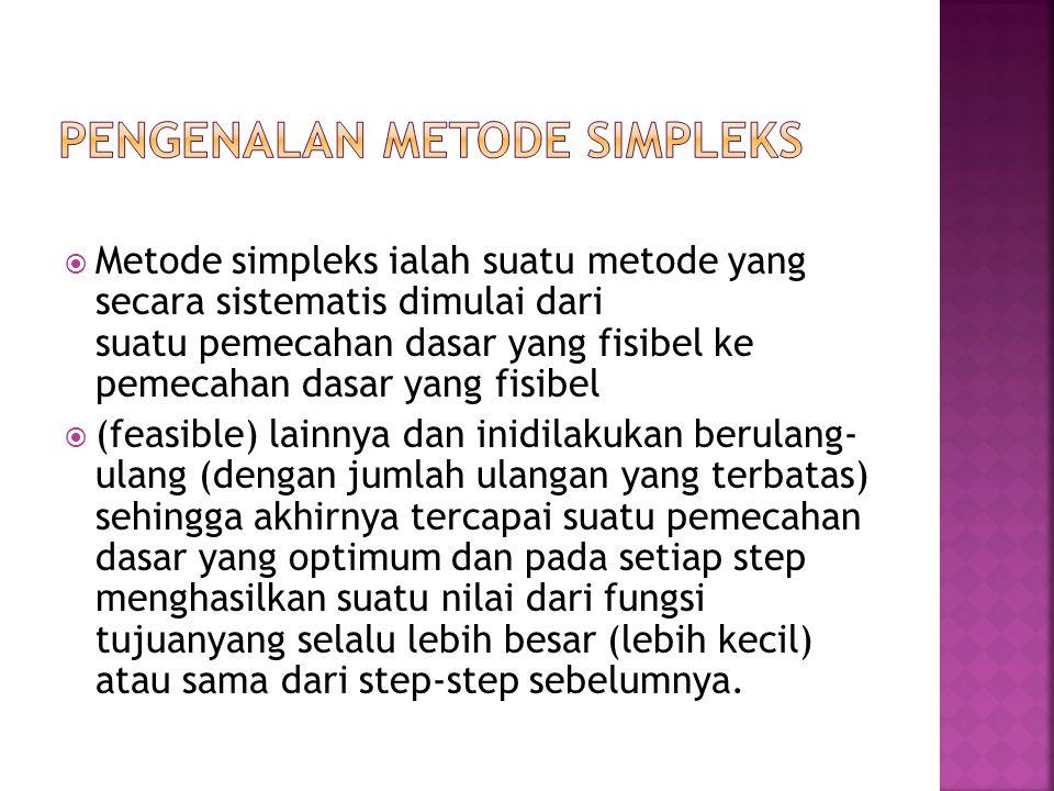  Metode simpleks ialah suatu metode yang secara sistematis dimulai dari suatu pemecahan dasar yang fisibel ke pemecahan dasar yang fisibel  (feasibl