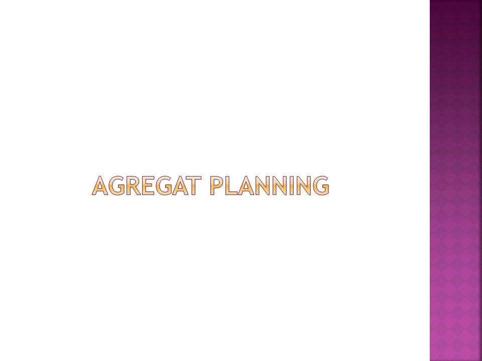  Perencanan Agregat adalah suatu aktivitas operasional untuk menentukan jumlah dan waktu produksi pada waktu dimasa yang akan datang.AP juga didefinisikan sebagai usaha untuk menyamakan antara supply dan demand dari suatu produk atau jasa dengan jalan menentukan jumlah dan waktu input, transformasi, dan output yang tepat.