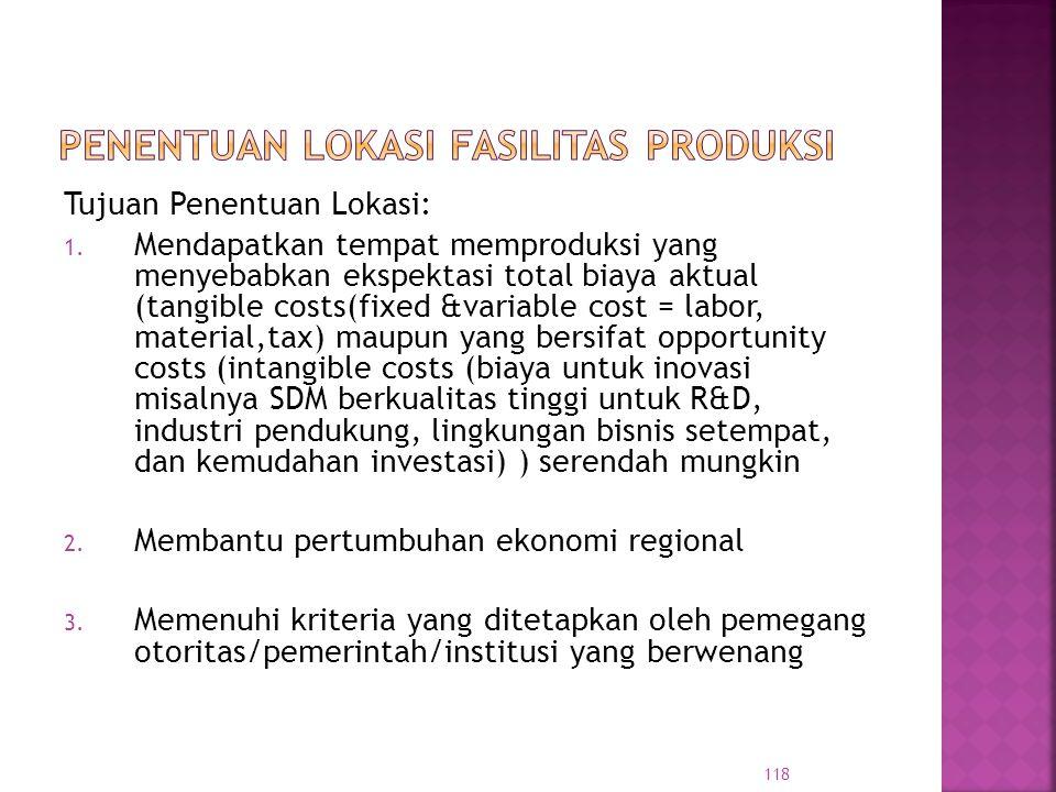 Tujuan Penentuan Lokasi: 1. Mendapatkan tempat memproduksi yang menyebabkan ekspektasi total biaya aktual (tangible costs(fixed &variable cost = labor