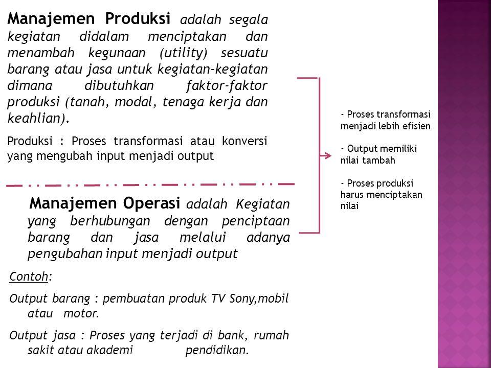 Manajemen Produksi adalah segala kegiatan didalam menciptakan dan menambah kegunaan (utility) sesuatu barang atau jasa untuk kegiatan-kegiatan dimana