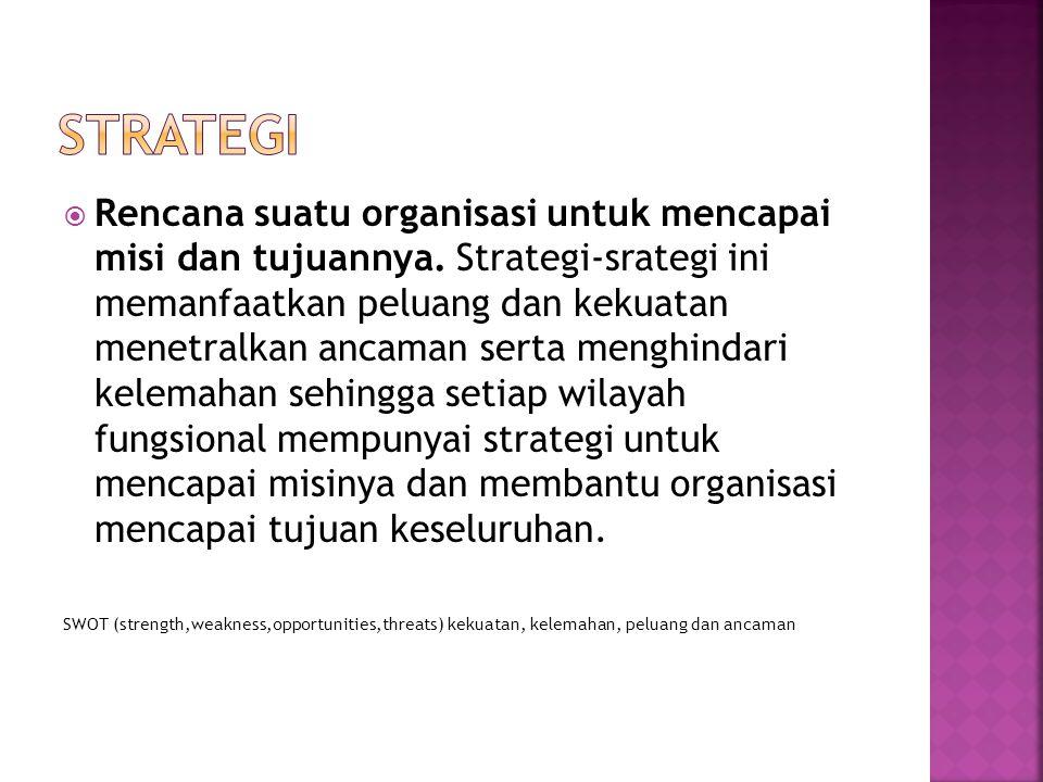  Rencana suatu organisasi untuk mencapai misi dan tujuannya. Strategi-srategi ini memanfaatkan peluang dan kekuatan menetralkan ancaman serta menghin