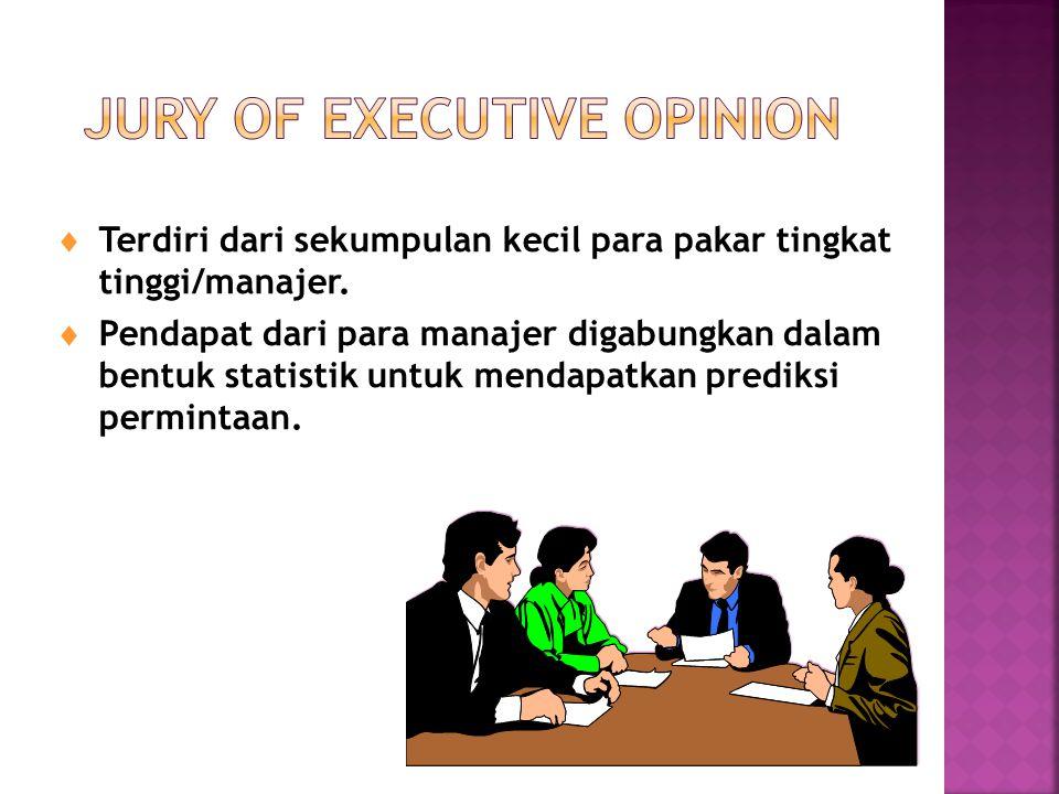  Terdiri dari sekumpulan kecil para pakar tingkat tinggi/manajer.  Pendapat dari para manajer digabungkan dalam bentuk statistik untuk mendapatkan p