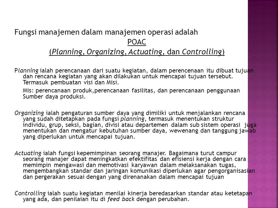 Fungsi manajemen dalam manajemen operasi adalah POAC (Planning, Organizing, Actuating, dan Controlling) Planning ialah perencanaan dari suatu kegiatan