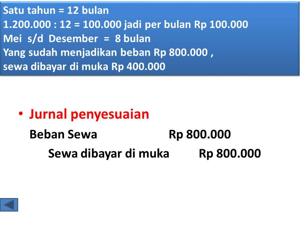 • Jurnal penyesuaian Beban SewaRp 800.000 Sewa dibayar di mukaRp 800.000 Satu tahun = 12 bulan 1.200.000 : 12 = 100.000 jadi per bulan Rp 100.000 Mei