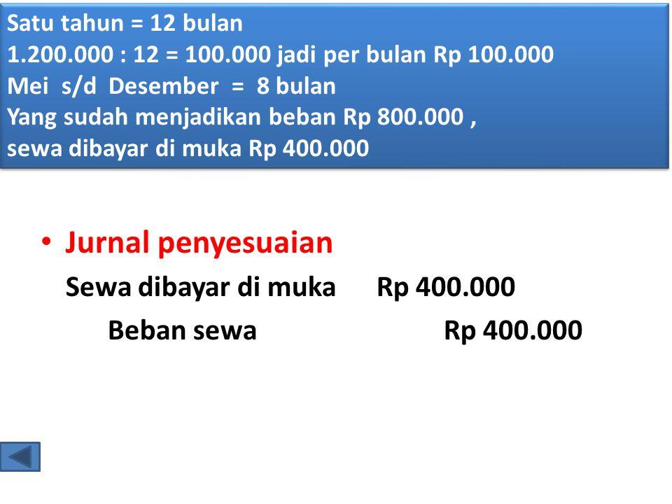 • Jurnal penyesuaian Sewa dibayar di mukaRp 400.000 Beban sewaRp 400.000 Satu tahun = 12 bulan 1.200.000 : 12 = 100.000 jadi per bulan Rp 100.000 Mei