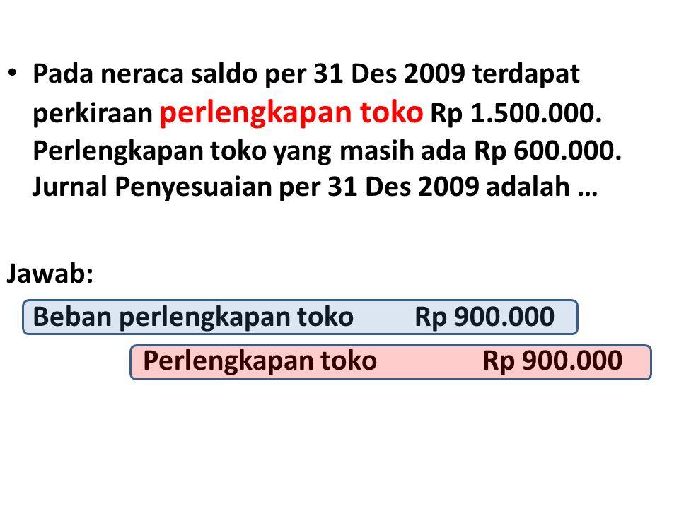 • Pada neraca saldo per 31 Des 2009 terdapat perkiraan perlengkapan toko Rp 1.500.000. Perlengkapan toko yang masih ada Rp 600.000. Jurnal Penyesuaian