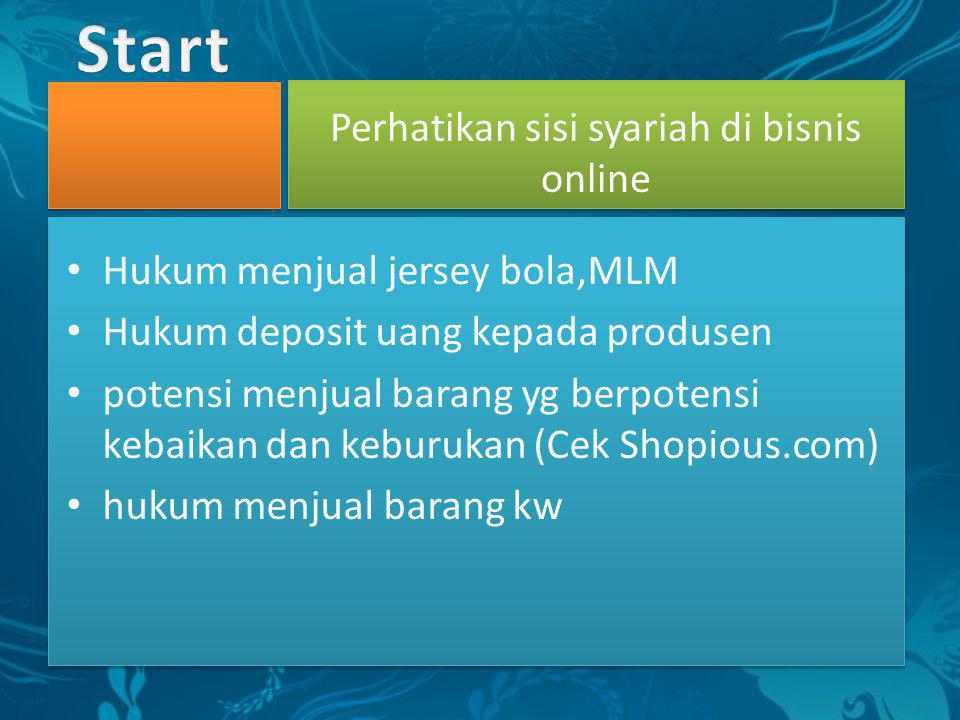 • Hukum menjual jersey bola,MLM • Hukum deposit uang kepada produsen • potensi menjual barang yg berpotensi kebaikan dan keburukan (Cek Shopious.com)