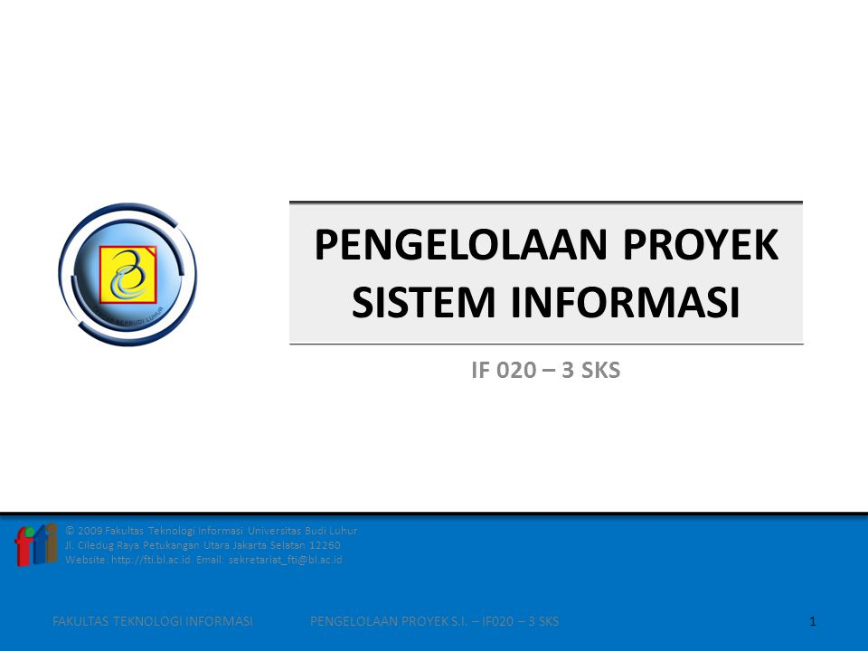 ORGANISASI FUNGSIONAL Proyek ditangani lewat koordinasi manajer fungsional FAKULTAS TEKNOLOGI INFORMASI12PENGELOLAAN PROYEK S.I.