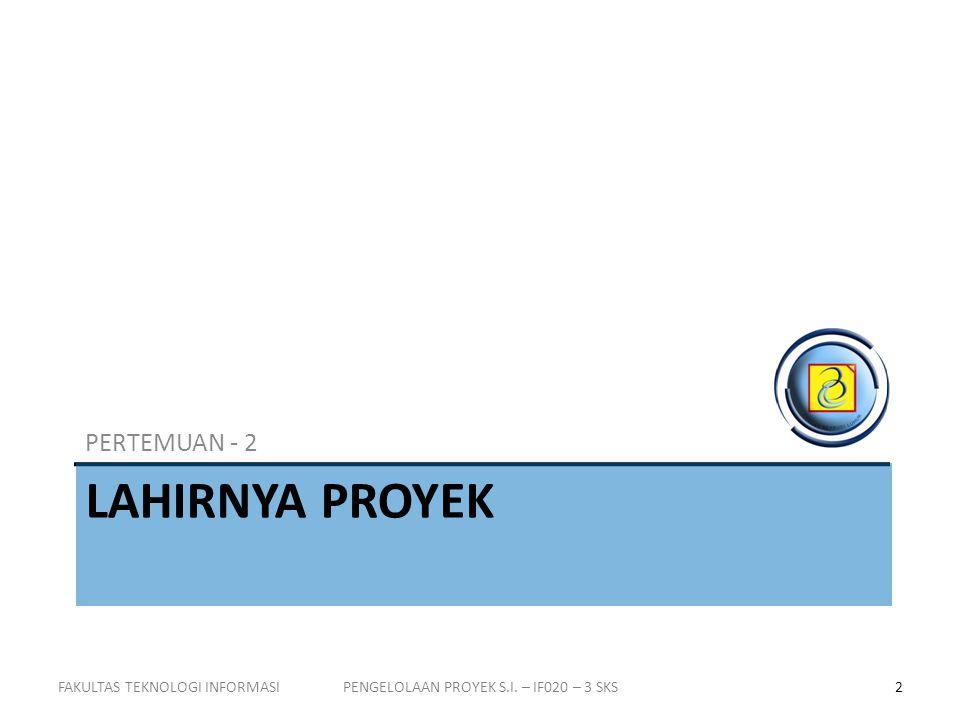 ORGANISASI PROYEK Proyek ditangani lewat koordinasi manajer proyek FAKULTAS TEKNOLOGI INFORMASI13PENGELOLAAN PROYEK S.I.
