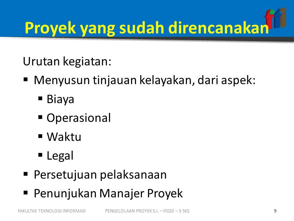 Contoh Muatan BUSINESS CASE 1.Identitas Proyek: (Nama, Tanggal peresmian, Unit pengusul, Manajer proyek) 2.Nomor revisi dokumen: 3.Manfaat dan Biaya: 4.Biaya / Sumberdaya: (biaya pembangunan dan operasi per tahun dg asumsi perhitungannya)  Dikelompokkan atas biaya P/K; P/L; Pelatihan; ATK; Jasa konsultansi; dll,  Penggunaan SDM, dalam jam FAKULTAS TEKNOLOGI INFORMASI20PENGELOLAAN PROYEK S.I.
