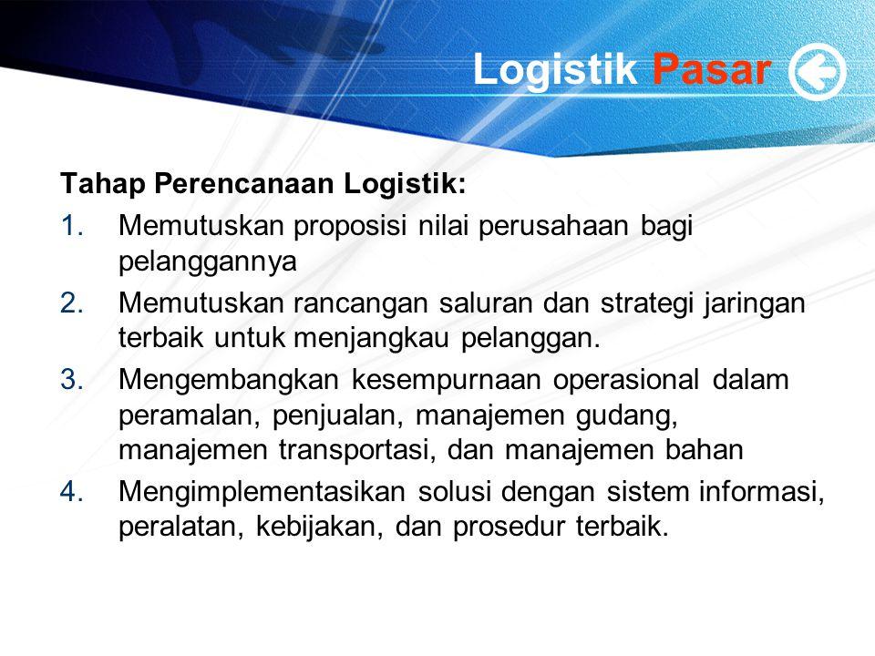 Logistik Pasar Tahap Perencanaan Logistik: 1.Memutuskan proposisi nilai perusahaan bagi pelanggannya 2.Memutuskan rancangan saluran dan strategi jarin