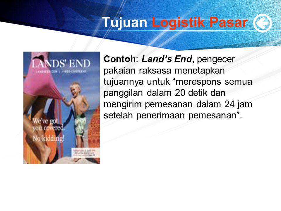 """Tujuan Logistik Pasar Contoh: Land's End, pengecer pakaian raksasa menetapkan tujuannya untuk """"merespons semua panggilan dalam 20 detik dan mengirim p"""