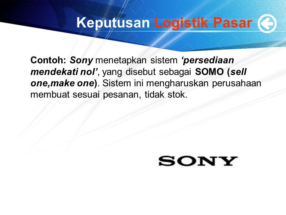Keputusan Logistik Pasar Contoh: Sony menetapkan sistem 'persediaan mendekati nol', yang disebut sebagai SOMO (sell one,make one). Sistem ini mengharu