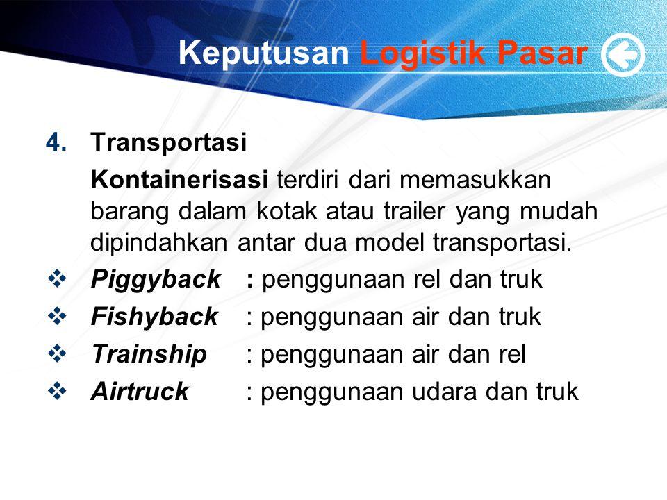 Keputusan Logistik Pasar 4.Transportasi Kontainerisasi terdiri dari memasukkan barang dalam kotak atau trailer yang mudah dipindahkan antar dua model