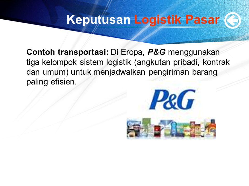 Keputusan Logistik Pasar Contoh transportasi: Di Eropa, P&G menggunakan tiga kelompok sistem logistik (angkutan pribadi, kontrak dan umum) untuk menja