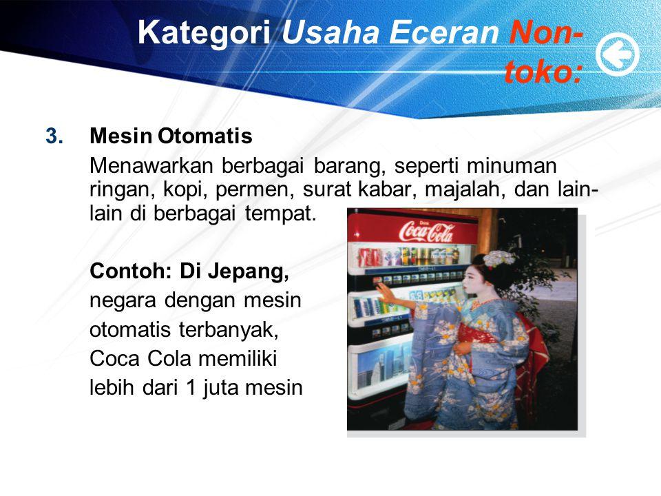 Kategori Usaha Eceran Non- toko: 4.