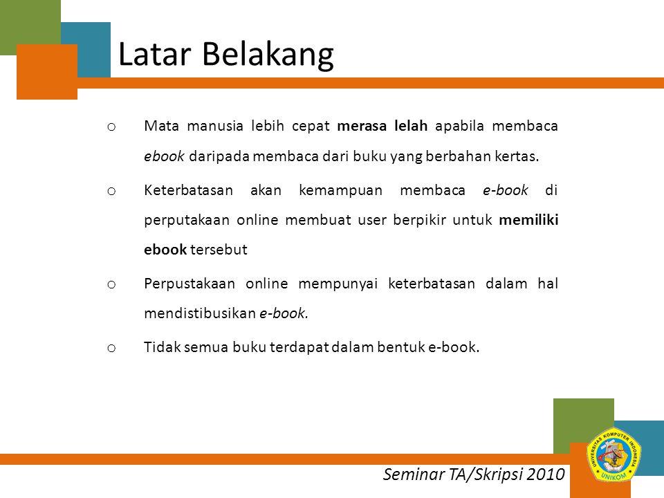 Seminar TA/Skripsi 2010 Maksud Membangun aplikasi perpustakaan dan toko online terintergrasi