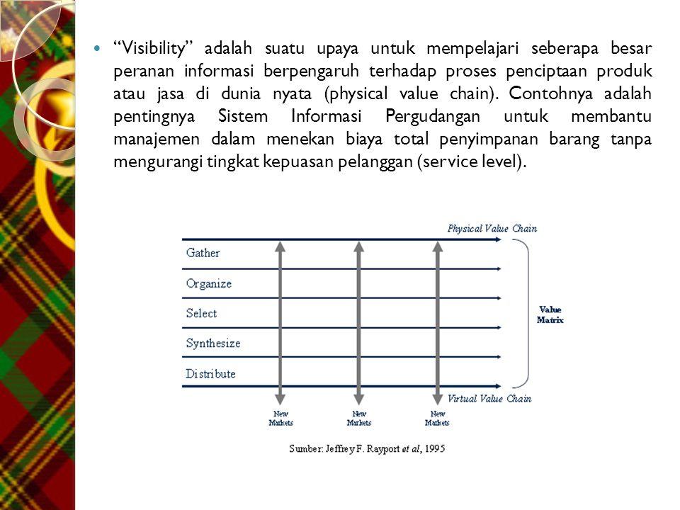 Visibility adalah suatu upaya untuk mempelajari seberapa besar peranan informasi berpengaruh terhadap proses penciptaan produk atau jasa di dunia nyata (physical value chain).