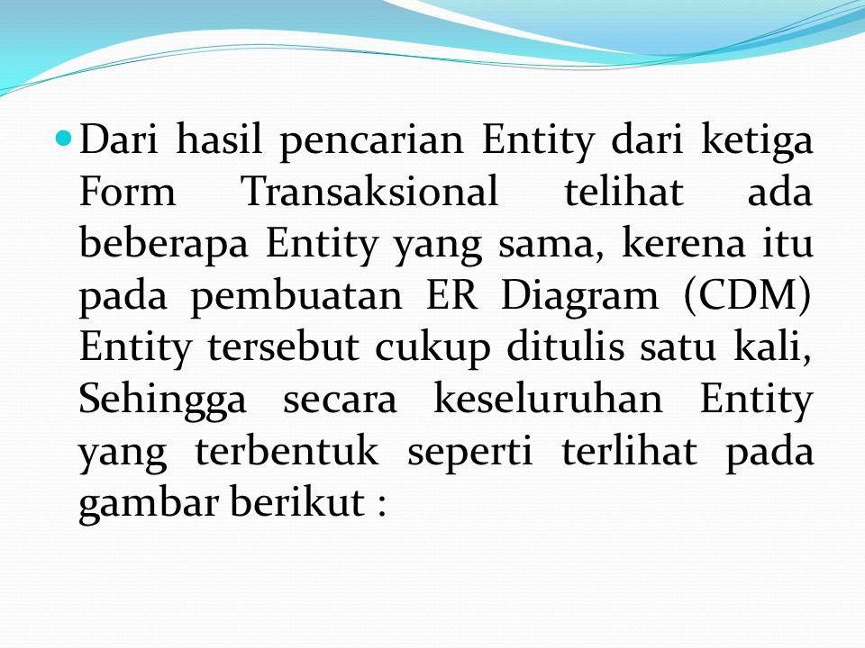  Dari hasil pencarian Entity dari ketiga Form Transaksional telihat ada beberapa Entity yang sama, kerena itu pada pembuatan ER Diagram (CDM) Entity tersebut cukup ditulis satu kali, Sehingga secara keseluruhan Entity yang terbentuk seperti terlihat pada gambar berikut :