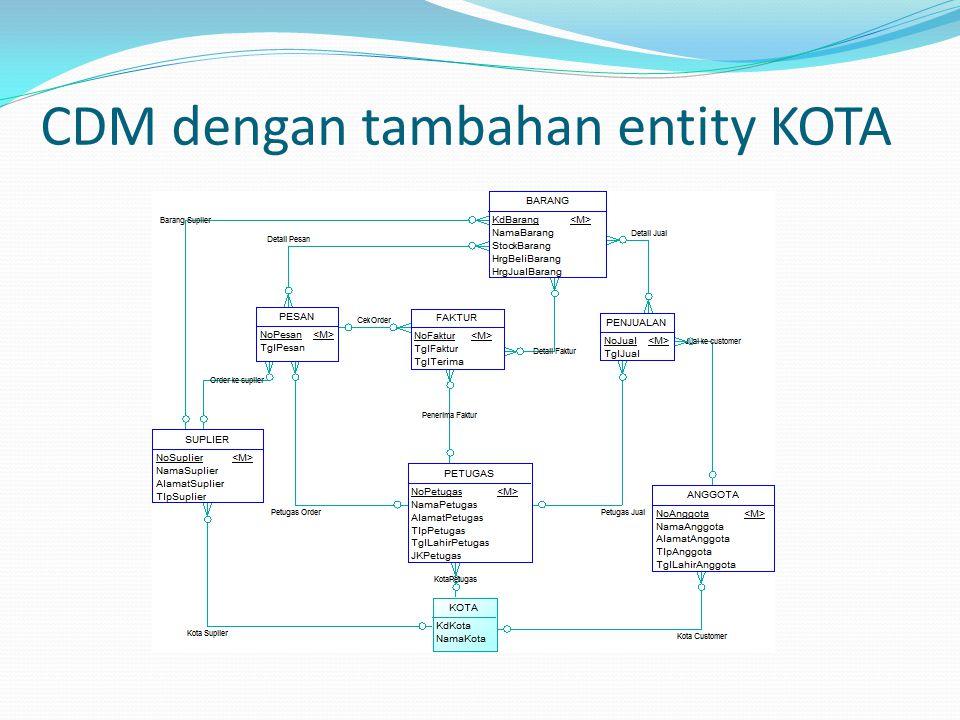 CDM dengan tambahan entity KOTA
