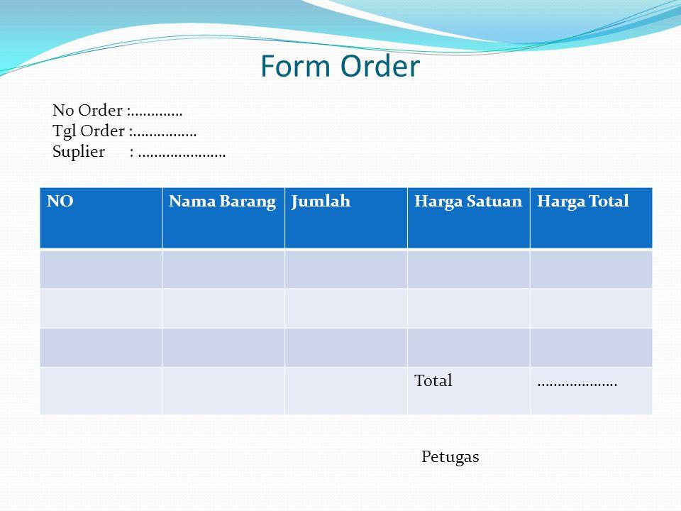 Form Order NONama BarangJumlahHarga SatuanHarga Total Total………………..