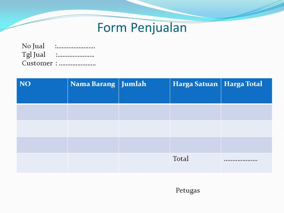 Form Penjualan NONama BarangJumlahHarga SatuanHarga Total Total………………..