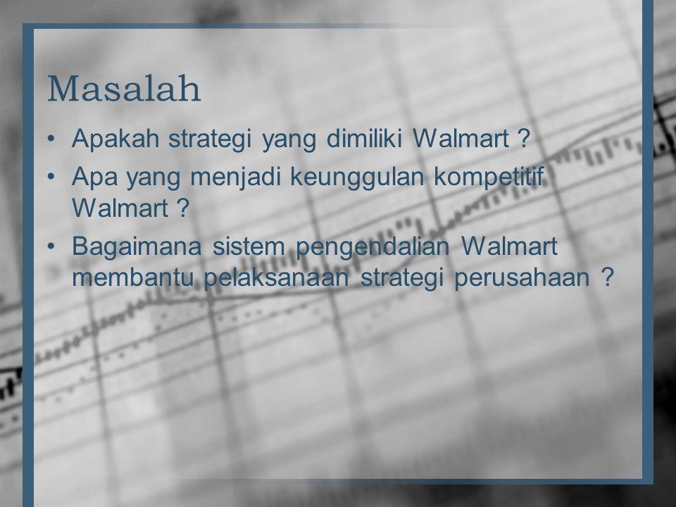 Masalah •Apakah strategi yang dimiliki Walmart ? •Apa yang menjadi keunggulan kompetitif Walmart ? •Bagaimana sistem pengendalian Walmart membantu pel